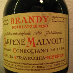 Brandy carpenè malvolti, qualità stravechia, riserva, cl. 75 gr 43 ani 70 - Cognac