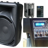 PERECHE/SET 2 BOXE ACTIVE PROFESIONALE,600 WATT,MIXER,MP3 PLAYER,AFISAJ LCD.NOI.
