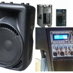 PERECHE/SET 2 BOXE ACTIVE PROFESIONALE,600 WATT,MIXER,MP3 PLAYER,AFISAJ LCD.NOI.