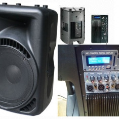 PERECHE/SET 2 BOXE ACTIVE PROFESIONALE, 600 WATT, MIXER, MP3 PLAYER, AFISAJ LCD.NOI. - Boxa activa