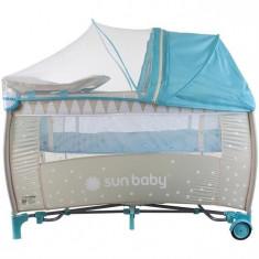 Patut Pliabil Cu Sistem De Leganare Sweet Dreams - Sun Baby - Turcoaz - Patut pliant bebelusi Sun Baby, 120x60cm, Albastru