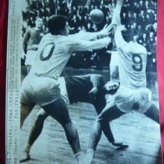 Fotografie mare de Presa- Meci de Handbal Romania-Danemarca1963, cu Badulescu
