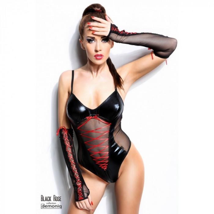 Body Black Rose L/XL cu manusi - Sex Shop Erotic24 foto mare