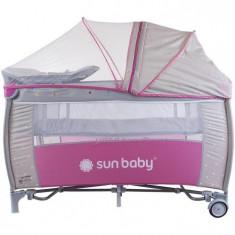 Patut Pliabil Cu Sistem De Leganare Sweet Dreams - Sun Baby - Roz - Patut pliant bebelusi Sun Baby, 120x60cm