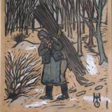 """Marcel Olinescu (1896-1992), """"In padure dupa lemne"""", linogravura + guase - Pictor roman, Peisaje, Guasa, Realism"""