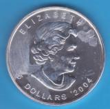 (1) MONEDA DIN ARGINT CANADA - 5 DOLLARS 2004, IN CAPSULA, STARE aUNC, 1 UNCIE