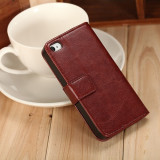 Husa piele fina slim iPhone 4 / 4s lux, tip flip cover portofel, MARO INCHIS - Husa Telefon