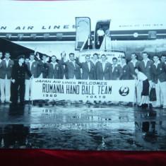 Fotografie 1960-Sosirea Echipei Handbal a Romaniei in Japonia -Japan AirLines - Program meci handbal
