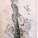 """Tiberiu Nicorescu (1927-1995), """"Doamna cu catelul"""", gravura - Pictor roman, Scene gen, Grisaille, Art Nouveau"""