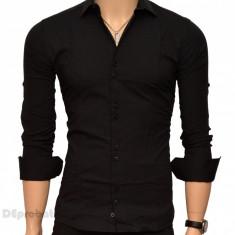 Camasa Slim Fit Neagra barbati - Camasa neagra casual-eleganta, L, M, S, XL, Maneca lunga, Negru