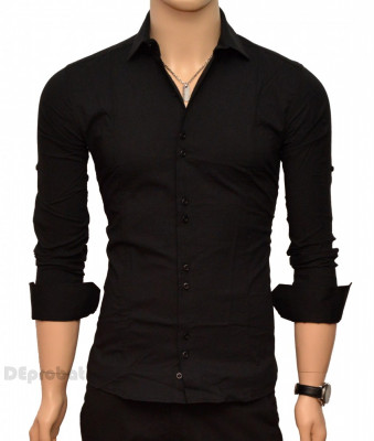 Camasa Slim Fit Neagra barbati - Camasa neagra casual-eleganta foto