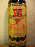 Vin vechi de colectie, BAROLO, riserva 1970,  doc, cl 72, gr 13, Sec, Rosu, Europa