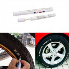 Marker permanent vopsea alba cauciucuri auto / moto - Vopsea auto