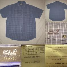 Camasa JACK WOLFSKIN Travel (L) barbati maneca scurta vara toamna albastra - Camasa barbati Jack Wolfskin, Marime: M, Culoare: Din imagine