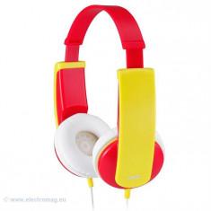 CASTI AUDIO COPII ROSU/GALBEN HA-KD5-R JVC, Casti On Ear, Cu fir, Mufa 3, 5mm