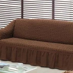 Husa creponata si elastica din bumbac pentru canapea 3 locuri culoare Maro - Husa pat