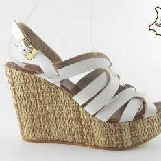Sandale dama piele naturala 030 Bianco, Marime: 40