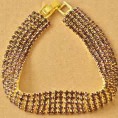 Bratara swarovski mov placata filata cu aur 14k gold filled 19 cm+saculet cadou - Bratara placate cu aur Diesel, Femei