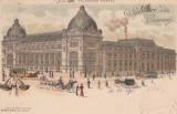 SALUTARI DIN BUCURESTI PALATUL TELEGRAFO-POSTAL  LITOGRAFIE 1900  TRAMVAI CU CAI