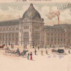 SALUTARI DIN BUCURESTI PALATUL TELEGRAFO-POSTAL LITOGRAFIE 1900 TRAMVAI CU CAI - Carte Postala Muntenia pana la 1904, Circulata, Printata