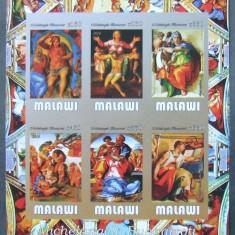 MALAWI 2016 - PICTURA M. BUONARROTI, 1 M/SH NEDANTELATA, NEOBLITERATA - PP 1108, Arta, Nestampilat