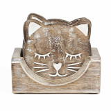 Set suporturi de pahare sculptate pisica