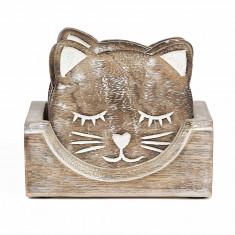 Set suporturi de pahare sculptate pisica - Suport pahare