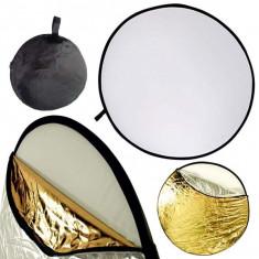 Blenda reflexie-difuzie 5 in 1 difuzie gold silver negru alb rotunda 60cm - Echipament Foto Studio, Blende foto reflexie