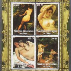 CONGO 2005 - PICTURA NUDURI G. COURBET, 1 M/SH NEDANTELATA, NEOBLIT - PP 1111 - Timbre straine, Arta, Nestampilat