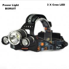 Lanterna Frontala gama BORUIT RJ-3000-T6 cu 3 Leduri CREE Super Power NOU
