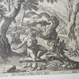 "Martin de Vos ""Jertfele lui Cain si Abel"" gravura veche 1583 - Pictor strain, Religie, Cerneala, Realism"