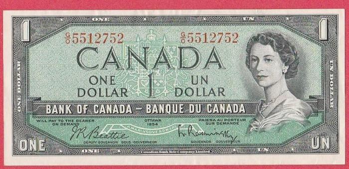 SV * Canada  1  ONE  DOLLAR  1954     AUNC+ foto mare