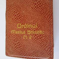 ORDINUL MERITUL STIINTIFIC CLASA II R.S.R. IN CUTIA ORIGINALA
