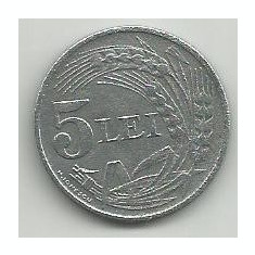 ROMANIA 5 LEI 1942 ZN [14] livrare in cartonas - Moneda Romania, Zinc