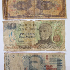 LOT 3 BANCNOTE COLECTIE:2 ARGENTINA+1 BRAZILIA - bancnota america, An: 1989