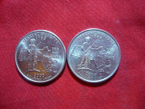 3 Monede 25 C SUA comemorative-Massachusetts -d  si p  si South Carolina 2000