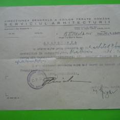 HOPCT ROMANIA DIRECTIUN GENERALA CAILE FERATE ROMANE 26 MAR 1945 /ARH NEDELESCU - Hartie cu Antet