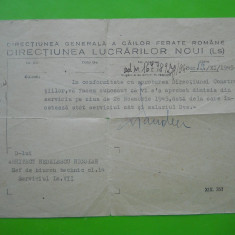 HOPCT ROMANIA DIRECTIUN GENERALA CAILE FERATE ROMANE 19 NOV 1945 /ARH NEDELESCU - Hartie cu Antet