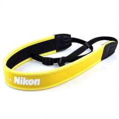 Curea pentru DSRL Nikon din neopren - elastica si antialunecare, culoare galbena
