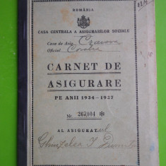 HOPCT ROMANIA CORABIA 1934 CARNET ASIGURARE 1934-1937 HAMAL GHIUZELEA DUMITRU, Documente