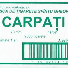 Eticheta cartus tigari Carpati / Fabrica Sfintu Gheorghe - Reclama Tiparita