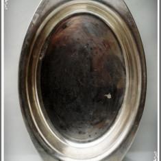 VAS / BOL MARE OVAL DE BUCĂTĂRIE, ALAMĂ PLACATĂ CU ARGINT, FOARTE VECHI - 1 KG!, Vase