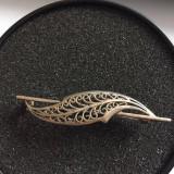 BROSA ARGINT FILIGRAN - forma frunza alungita