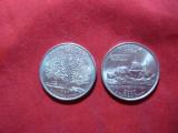 2 Monede 25 C SUA comemorative-Connecticut 1999-d  si Virginia2000-p