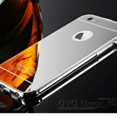 Iphone 6 6S - Bumper Case 2 Piese Rama Aluminiu Capac Plastic Argintiu Silver - Bumper Telefon Apple