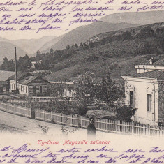 TARGU OCNA, MAGAZIILE SALINELOR, CLASICA, CIRCULATA JAN. ''906 - Carte Postala Moldova pana la 1904, Printata
