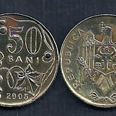 MOLDOVA 50 BANI 2005 [2] VF, livrare in cartonas, Europa, Fier