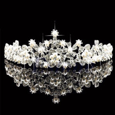 Diadema coronita tiara mireasa cu perle flori cristale tip Swarovski - Tiare mireasa