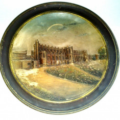 Farfurie de perete veche cu peisaj in relief, ceramica Germania - vechime mare - Arta Ceramica