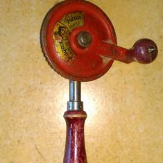 Masina gaurit manuala foarte veche Peugeot Freres originala. - Metal/Fonta
